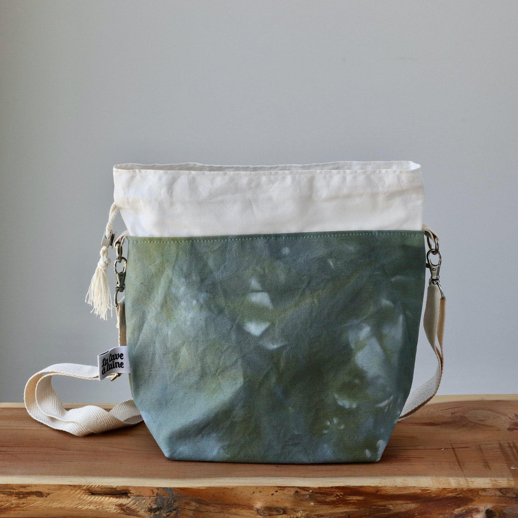 Aquarelle Project Bag - Hand-Dyed Organic Cotton, Crossbody, Verde Bosco-La Cave à Laine