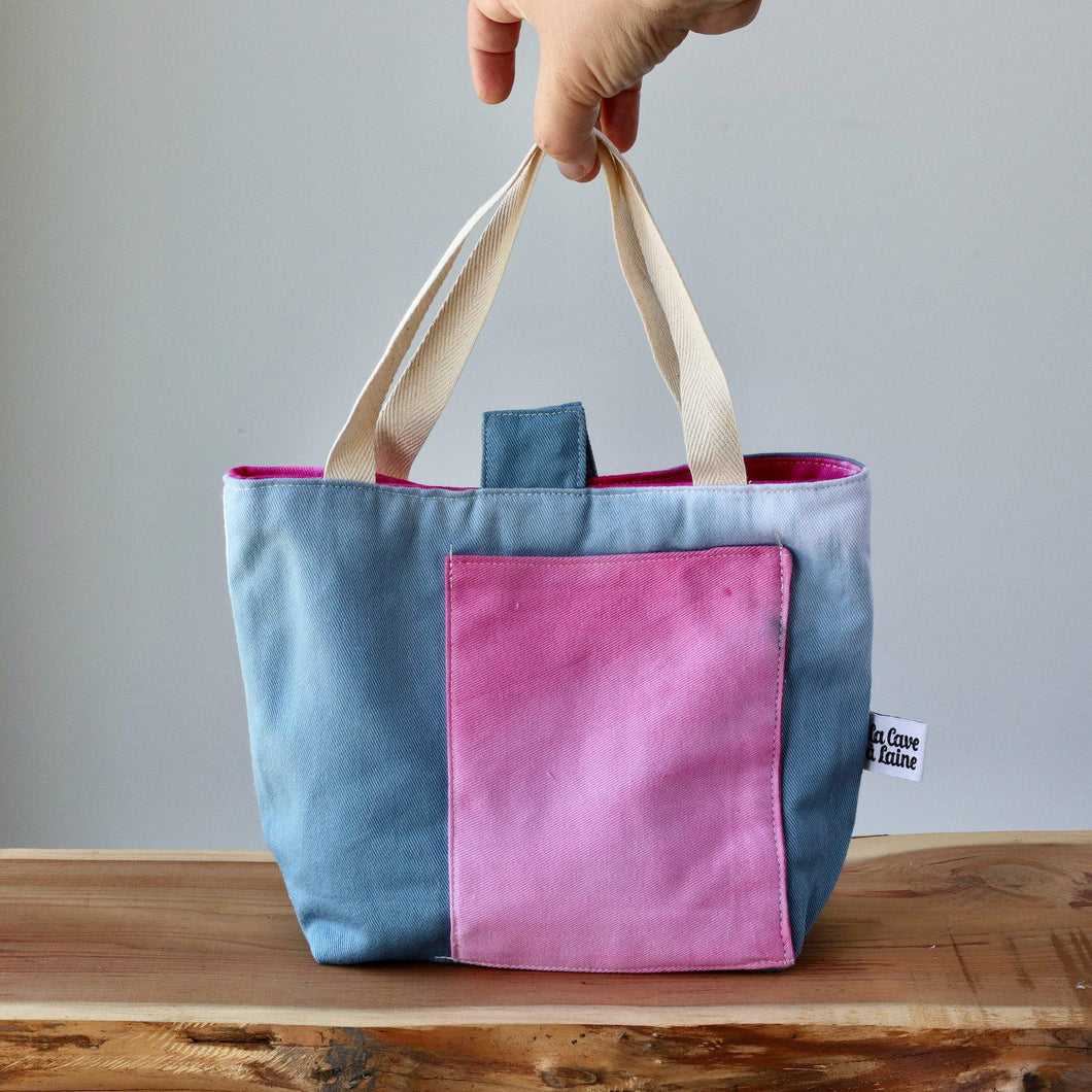 Aquarelle Small Project Bag - Hand-Dyed Organic Cotton, Blu & Rosa-La Cave à Laine