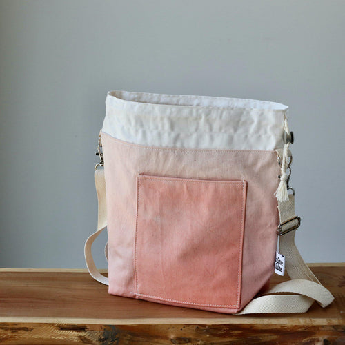 Aquarelle Project Bag - Hand-Dyed Organic Cotton, Crossbody, Rosso Salmone-La Cave à Laine