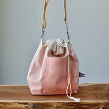 Load image into Gallery viewer, Aquarelle Project Bag - Hand-Dyed Organic Cotton, Crossbody, Rosso Salmone-La Cave à Laine