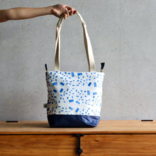 Load image into Gallery viewer, Linocut Project Bag - Long Handles XL - Blue-La Cave à Laine