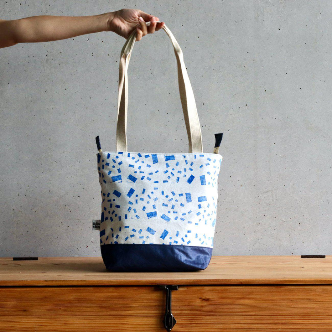 Linocut Project Bag - Long Handles XL - Blue-La Cave à Laine