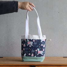 Load image into Gallery viewer, Llama Project Bag - Long Handles - Green and White-La Cave à Laine