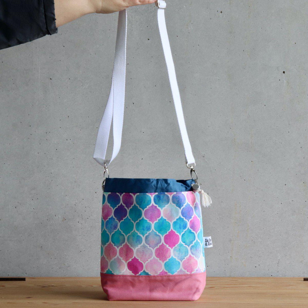 Zellige Project Bag - Crossbody, Pink and Blue-La Cave à Laine