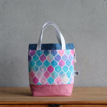 Load image into Gallery viewer, Zellige Project Bag - Short Handles, Pink & Blue-La Cave à Laine