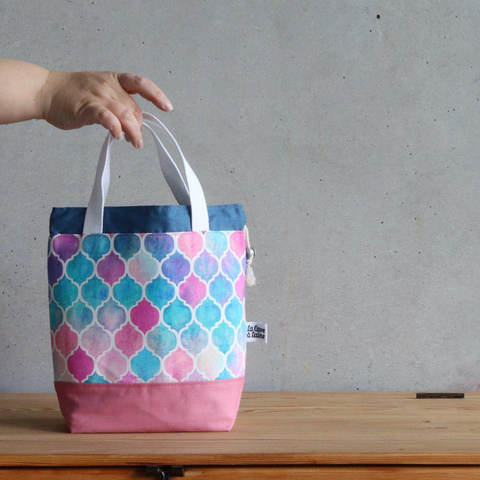 Zellige Project Bag - Short Handles, Pink & Blue-La Cave à Laine