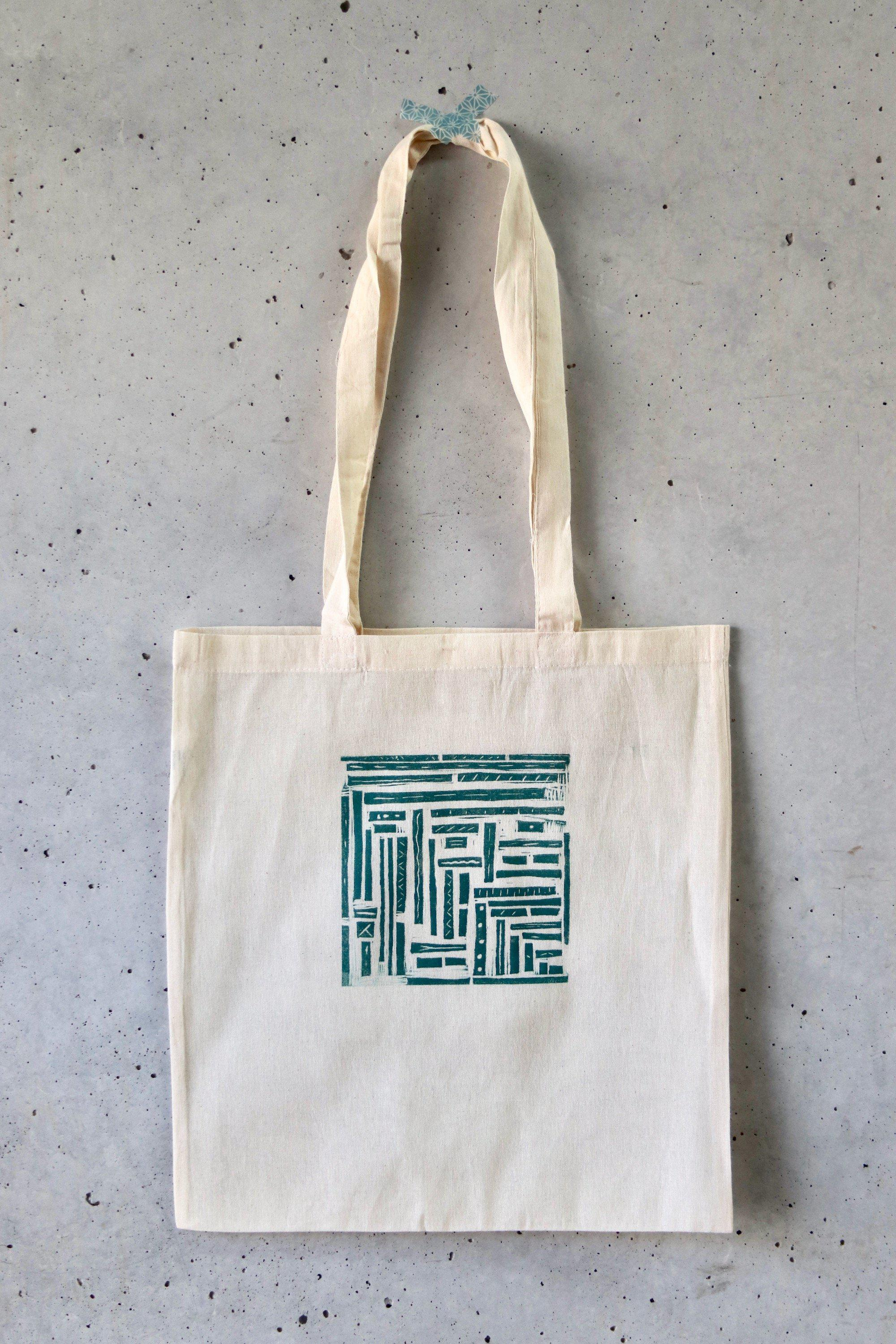 hand printed tote bag - stripes and pipes