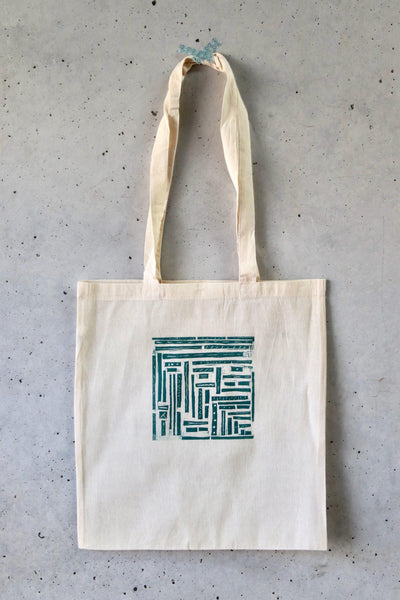 Hand Printed Tote Bag - Stripes and Pipes-La Cave à Laine