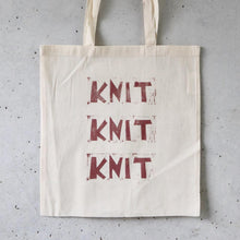Load image into Gallery viewer, Hand Printed Tote Bag - Knit Knit Knit-La Cave à Laine