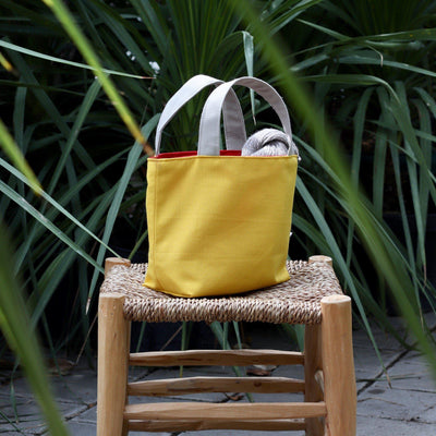 Gioia Yarn Basket - Yellow, Reversible-La Cave à Laine