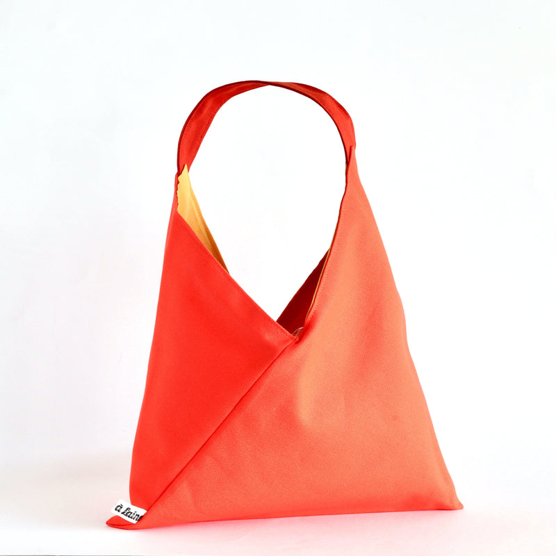 Origami Project Bag - Orange, Reversible-La Cave à Laine
