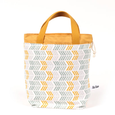 Super Gioia Yarn Basket - Yellow&Grey Arrows, Reversible-La Cave à Laine
