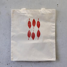 Load image into Gallery viewer, Organic Tote Bag, Hand Printed - Red Leaves-La Cave à Laine