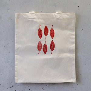 Organic Tote Bag, Hand Printed - Red Leaves-La Cave à Laine