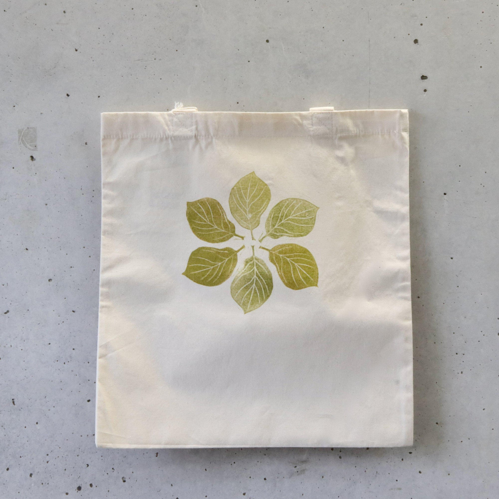 Organic Tote Bag, Hand Printed - Green Leaves-La Cave à Laine