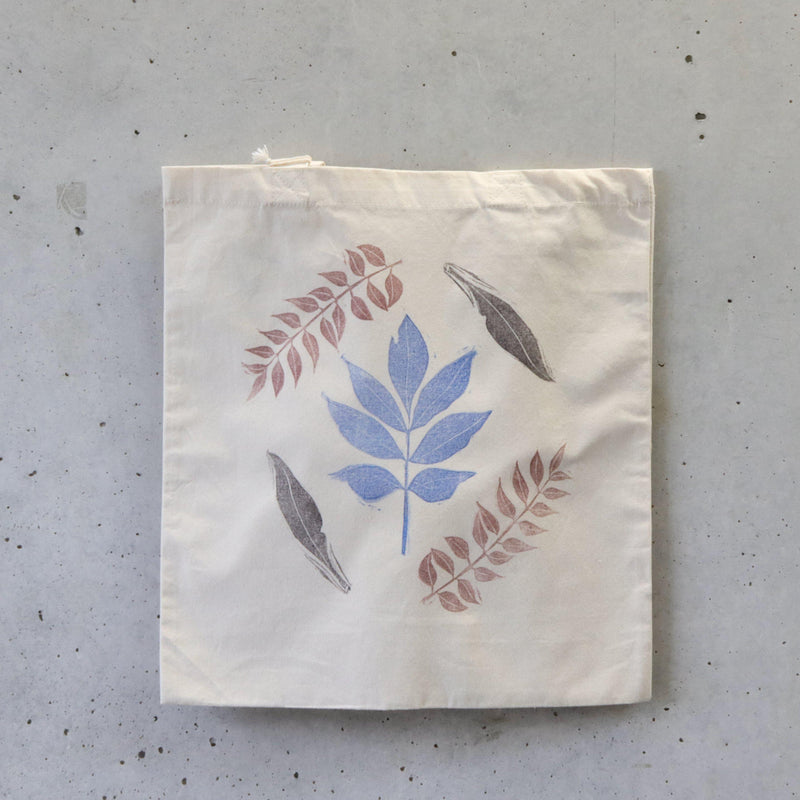 Organic Tote Bag, Hand Printed - Multi Coloured Foliage-La Cave à Laine