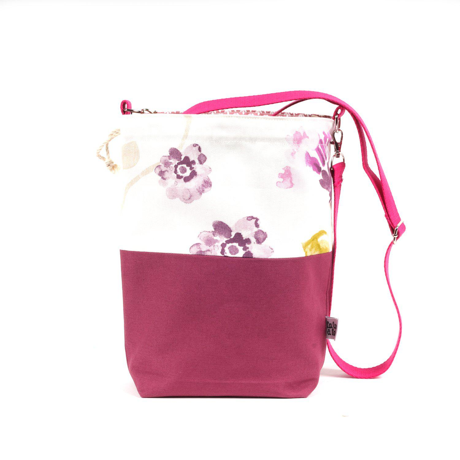Bucket Bag - Crossbody Shoulder Strap, Pink Flowers-La Cave à Laine