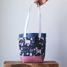 Load image into Gallery viewer, Llama Project Bag - Long Handles - Pink and Blue-La Cave à Laine