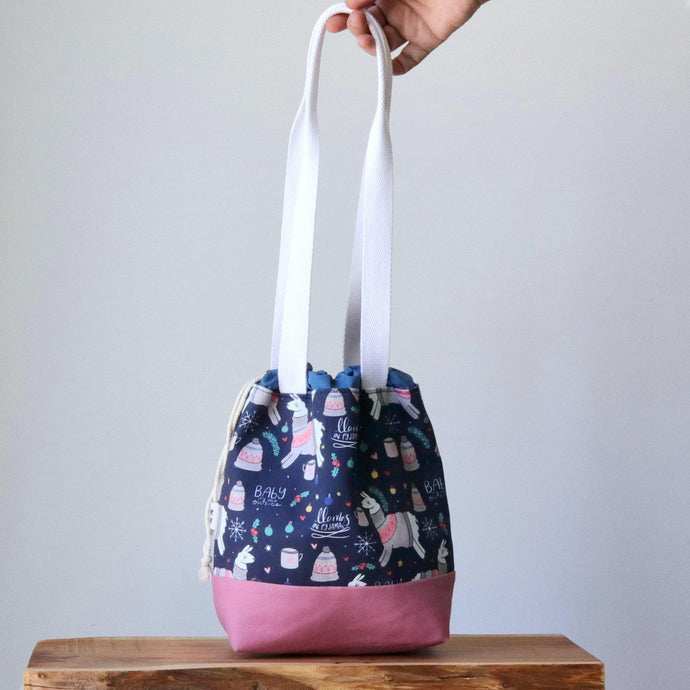 Llama Project Bag - Long Handles - Pink and Blue-La Cave à Laine