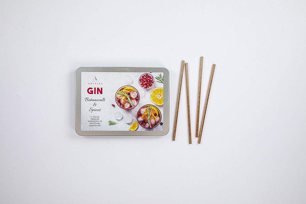 Anielas Botanicals Set of 11 Gin Infusion Kit with paper straws