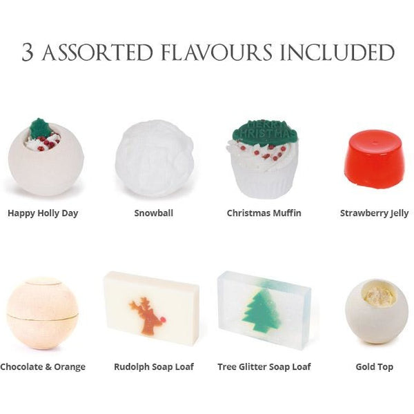 Holly Themed Mystery Bath Bomb Christmas Cracker | Anielas.com