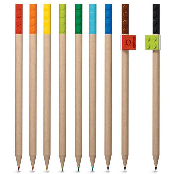 Lego Colored Pencil with Toppers 9-Pack | Anielas.com