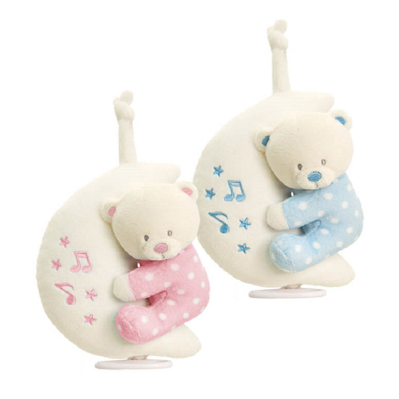 Keel Toys Baby Teddy Bear on Musical Moon 20cm Blue or Pink