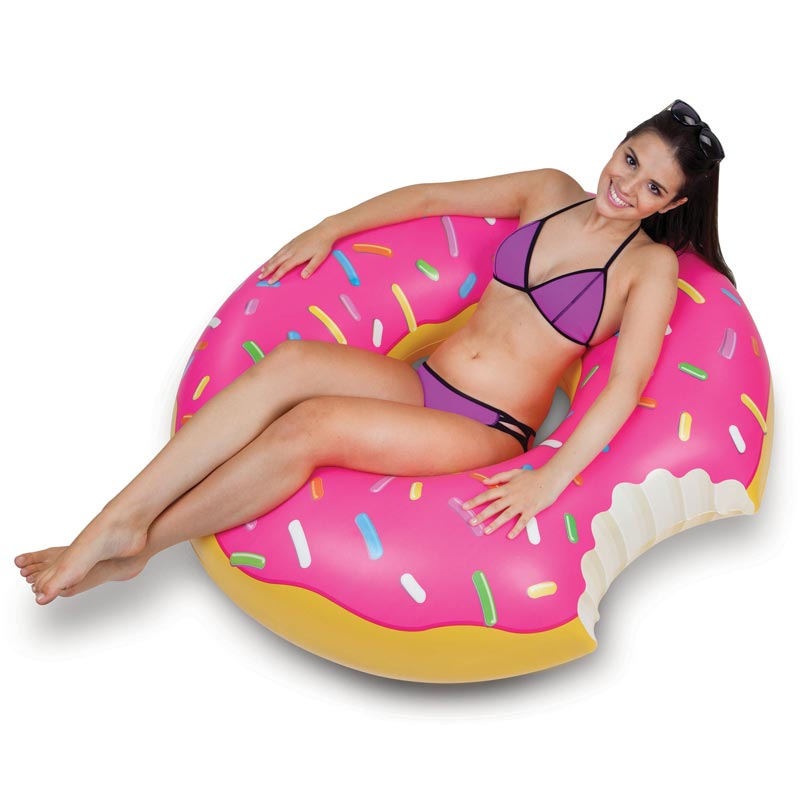 Giant Pink Frosted Donut Pool Float