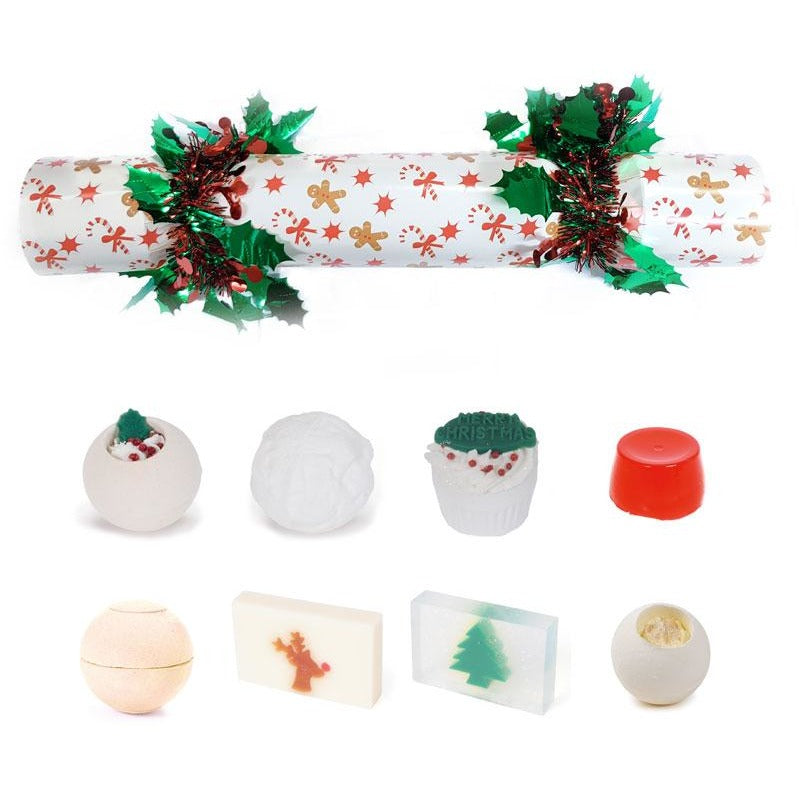 Gingerbread Themed Mystery Bath Bomb Christmas Cracker | Anielas.com