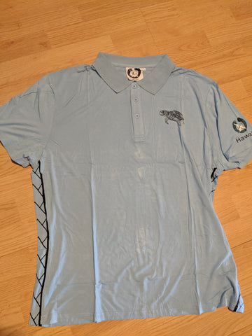 Bamboo Golf/Dress Polo Honu Sea Turtle Light Blue