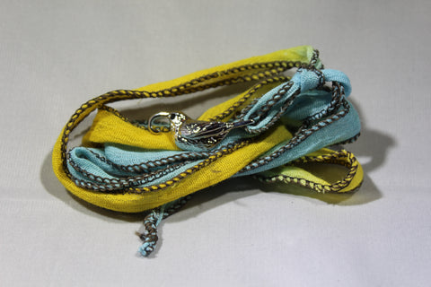 `I`iwi Cloth Wrap Bracelet (Blue/Yellow)