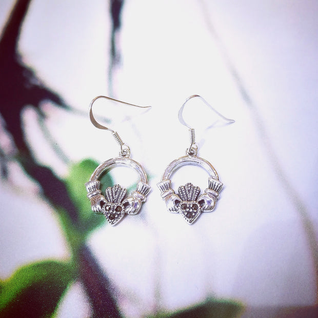 Sterling Silver Marcasite Claddagh Earrings