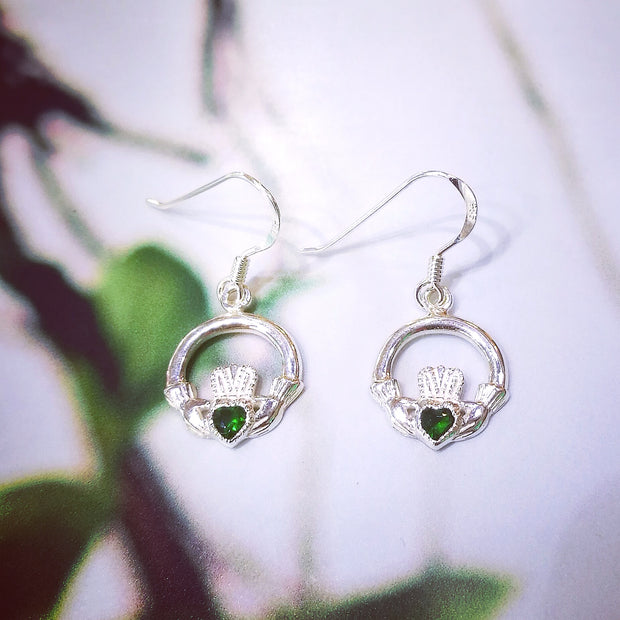 Sterling Silver Green Zirconia Claddagh Earrings