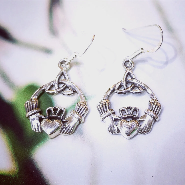 Sterling Silver Claddagh Earrings with Trinity Knot