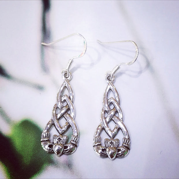 Sterling Silver Claddagh Earrings with Knotwork Motif