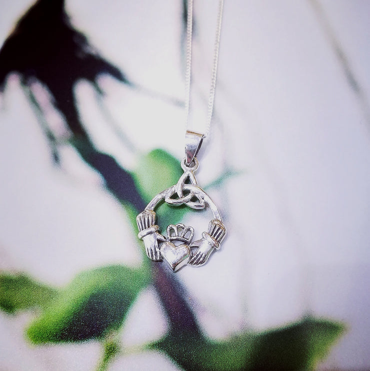 Sterling Silver Claddagh Pendant with Trinity Knot
