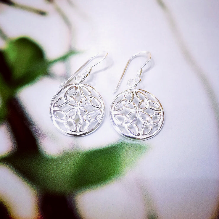Sterling Silver Trinity Circle Earrings