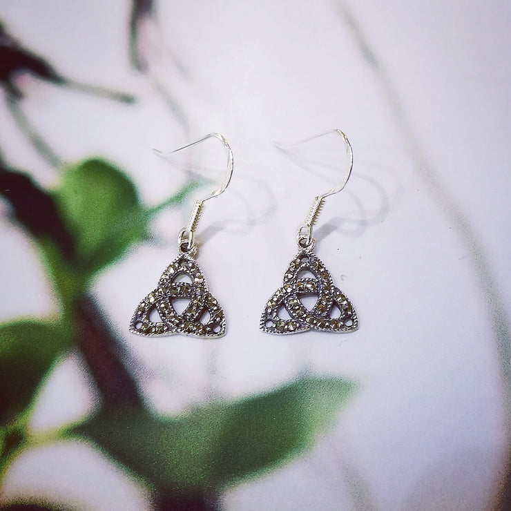 Sterling Silver Marcasite Trinity Earrings