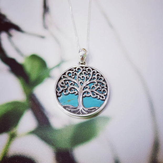 Sterling Silver Turquoise Detailed Tree Pendant