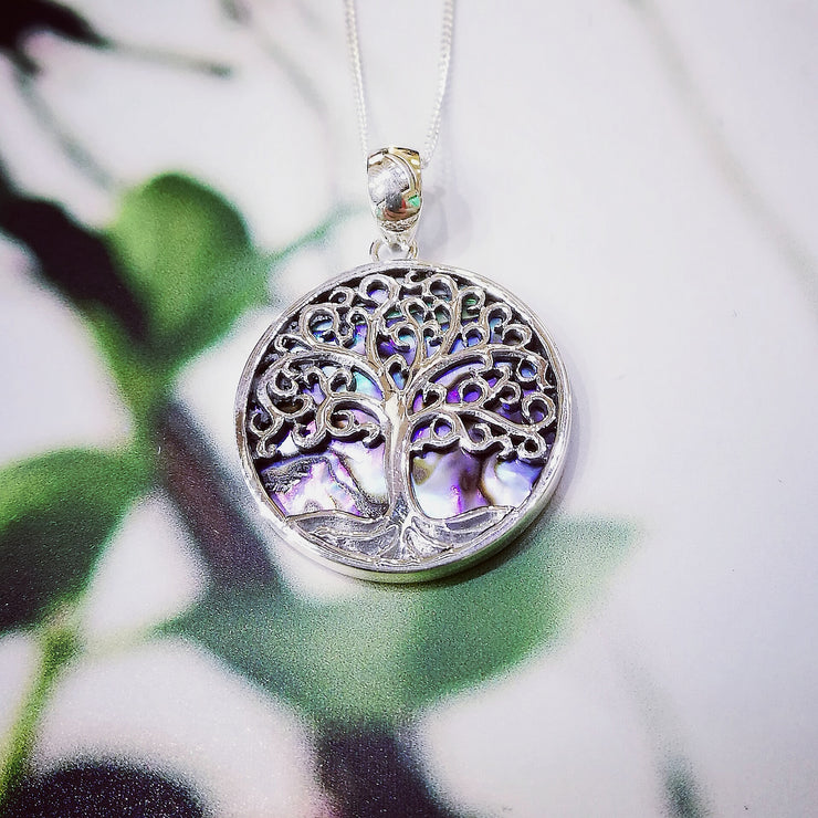 Sterling Silver Paua Shell Detailed Tree Pendant