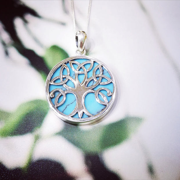 Sterling Silver Turquoise Trinity Tree Pendant