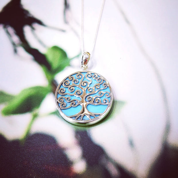 Sterling Silver Turquoise Spiral Tree Pendant