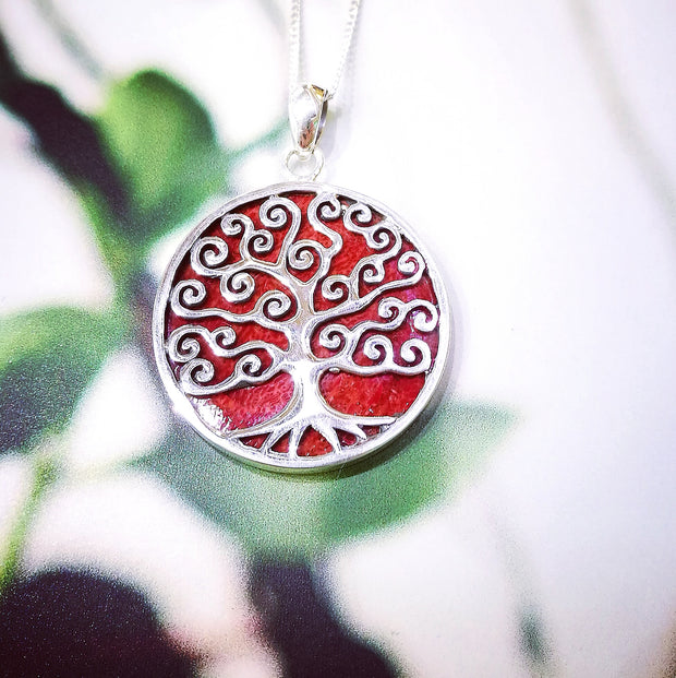 Sterling Silver Coral Spiral Tree Pendant