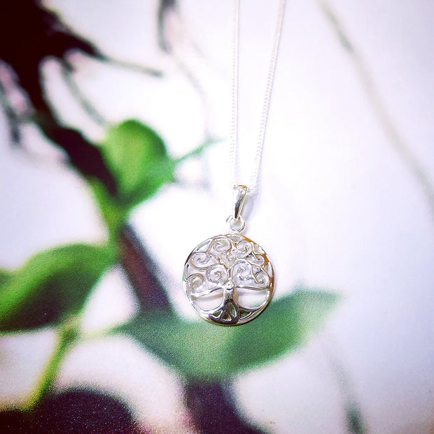 Sterling Silver Spiral CZ Tree of Life Pendant