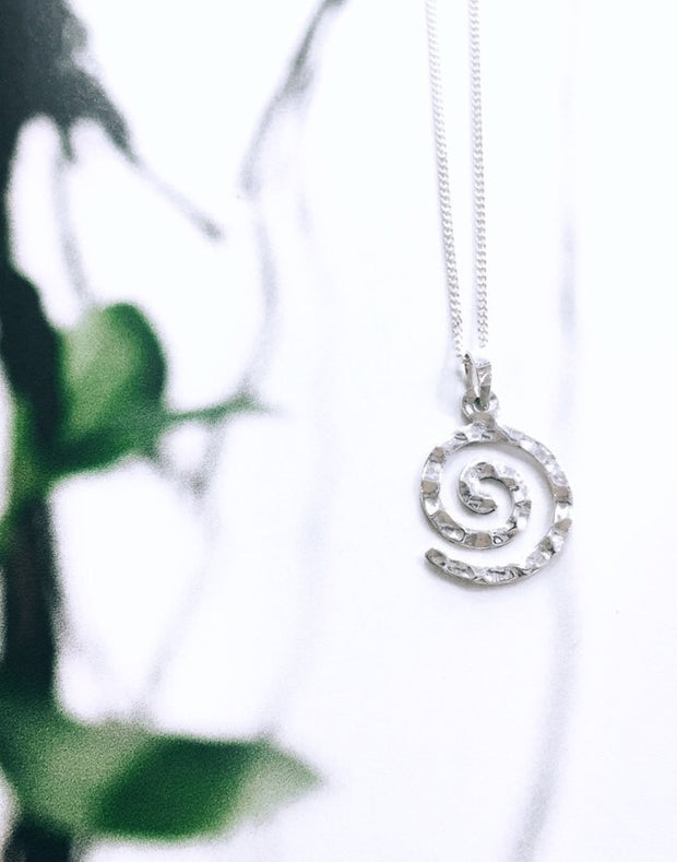 Sterling Silver Spiral with Hammered Design