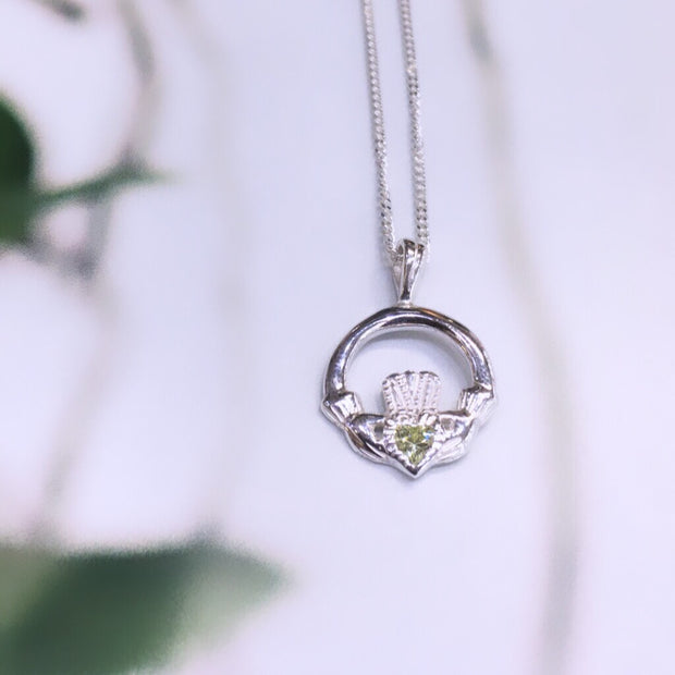 August (Peridot Zircon) Birthstone Claddagh Pendant