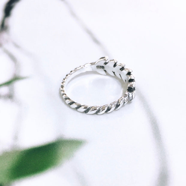 Sterling Silver Leaf Branch Ring