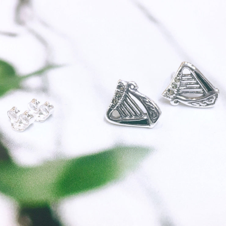 Sterling Silver Harp Studs with Marcasite
