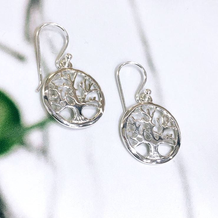 Sterling Silver Tree of Life in Circle Earrings