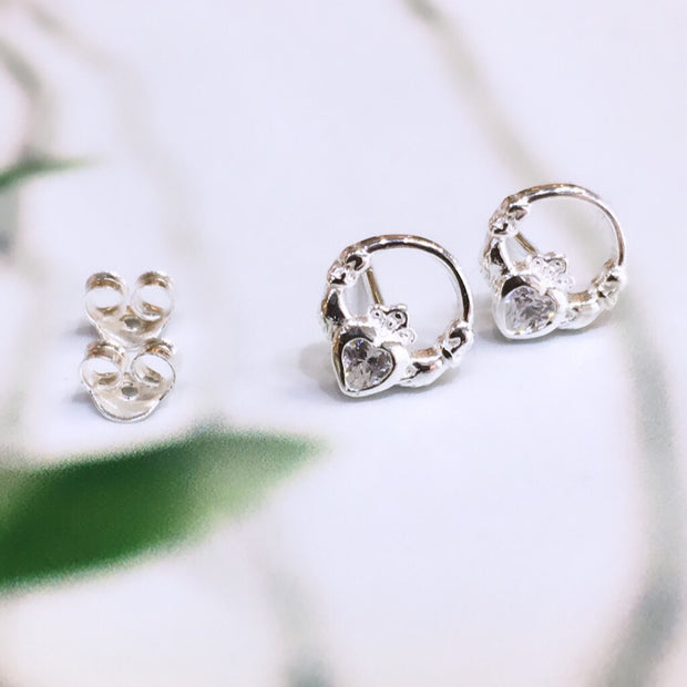 April (Diamond Zircon) Birthstone Claddagh Studs